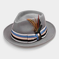 Feather & Striped Ribbon Wool Fedora