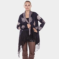 Rose pattern wrap cardigan with lace