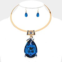 Glass Crystal Teardrop Ornate Choker Necklace