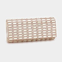 Rectangle crystal embellished evening clutch bag with strap