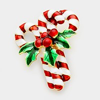 Lacquered Christmas candy cane brooch