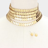 Multi-tier metal choker necklace