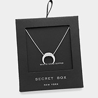 White gold dipped CZ double horn pendant necklace with secret box