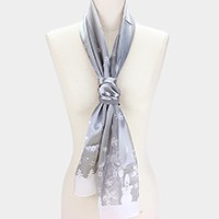 Silk feel Christmas motif scarf