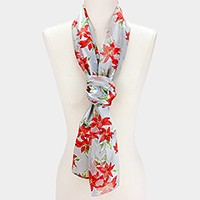 Silk feel poinsettia scarf