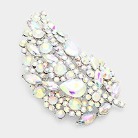 Oversized Glass Crystal Leaf brooch