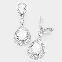 Rhinestone trim glass crystal teardrop clip on evening earrings