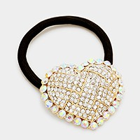 Rhinestone pave heart ponytail hair band