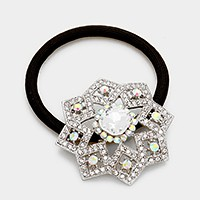 Rhinestone & glass crystal ponytail hair band