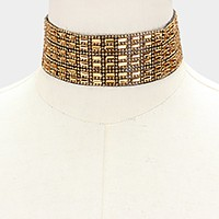 Crystal banded choker necklace