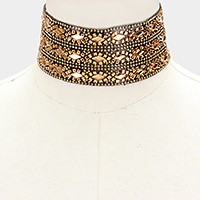 Crystal embellished wide choker necklace