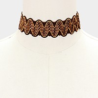 Woven straw choker necklace
