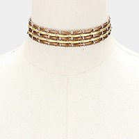 Metallic thread & faux leather choker necklace