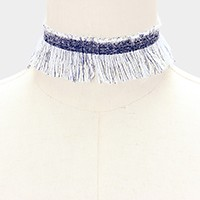 Frayed choker necklace