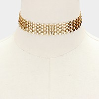Metal mesh choker necklace