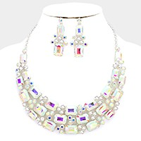 Emerald cut glass crystal bubble evening necklace