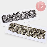 12 PCS - Reversible embroidered lace choker necklaces