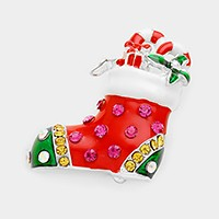 Rhinestone & lacquered Christmas sock brooch