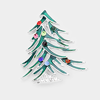 Stone Embellished Enamel Christmas Tree Pin Brooch
