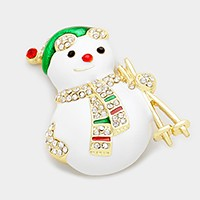 Rhinestone & lacquered snowman brooch