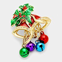 Rhinestone & lacquered Christmas jinglle bell brooch