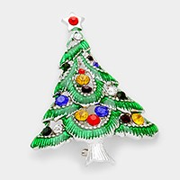 Rhinestone & lacquered Christmas tree brooch