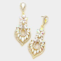 Glass crystal statement evening earrings