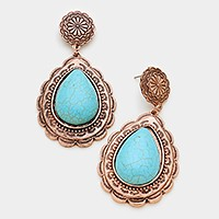 Antique metal turquoise earrings