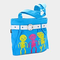 Buckle detail glitter skeleton print shopper bag