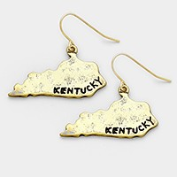 Hammered metal Kentucky state map earrings