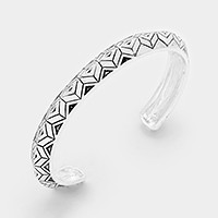 Embossed geometric pattern metal cuff bracelet