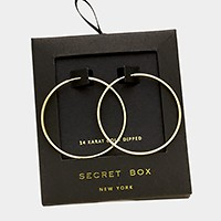 14 K gold dipped metal hoop earrings with secret box