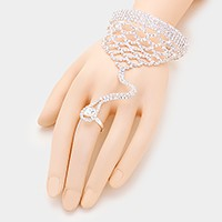 Rhinestone scale evening hand chain bracelet