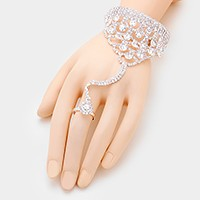 Rhinestone scale bubble evening hand chain bracelet