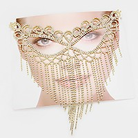 Rhinestone cat eye fringe mask