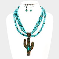 Turquoise detail metal cactus pendant & multi-strand bead necklace