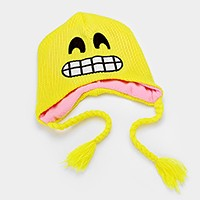 Grinning emoji _ Fleece lined knit tassel earflap hat