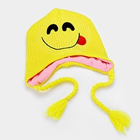 Smiley face emoji with tongue out _ Fleece lined knit tassel earflap hat