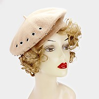 Punch hole studded beret hat
