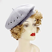 Punch hole studded wool beret hat