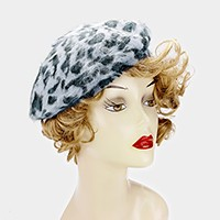 Leopard pattern wool beret hat