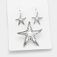 Antique metal starfish pendant set