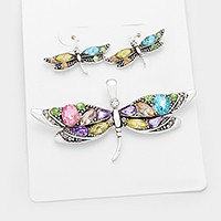 Glass crystal dragonfly pendant set