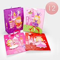 12 PCS - Princess girl print gift bags