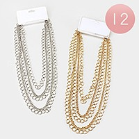 12 PCS - Multi-tier metal chain necklaces