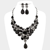 Glass crystal teardrop link evening necklace