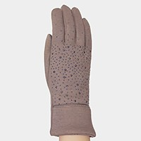 Crystal studded smart thermal gloves