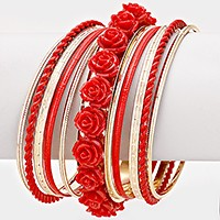11 PCS - Resin rose stack bangle bracelets