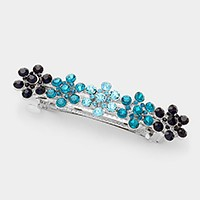 Ombre rhinestone flowers hair barrette