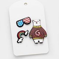 American flag sunglasses & polar bear _ Pop art patch brooch set
